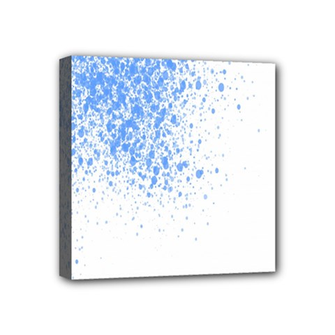 Blue Paint Splats Mini Canvas 4  x 4