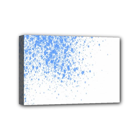 Blue Paint Splats Mini Canvas 6  x 4