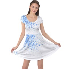 Blue Paint Splats Cap Sleeve Dresses