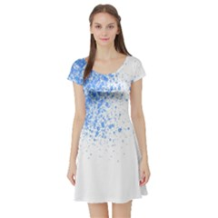 Blue Paint Splats Short Sleeve Skater Dress