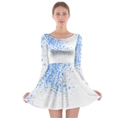 Blue Paint Splats Long Sleeve Skater Dress
