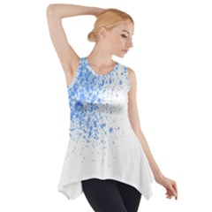 Blue Paint Splats Side Drop Tank Tunic