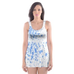 Blue Paint Splats Skater Dress Swimsuit