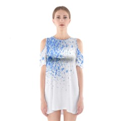 Blue Paint Splats Shoulder Cutout One Piece