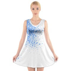 Blue Paint Splats V Neck Sleeveless Skater Dress