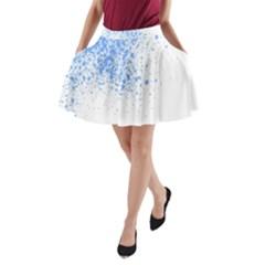 Blue Paint Splats A-Line Pocket Skirt