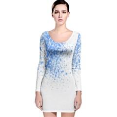 Blue Paint Splats Long Sleeve Velvet Bodycon Dress