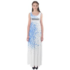 Blue Paint Splats Empire Waist Maxi Dress