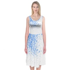 Blue Paint Splats Midi Sleeveless Dress
