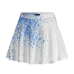 Blue Paint Splats Mini Flare Skirt