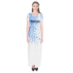 Blue Paint Splats Short Sleeve Maxi Dress