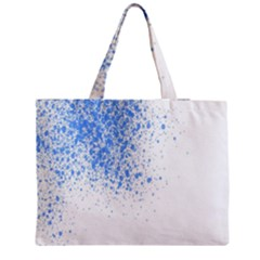 Blue Paint Splats Medium Zipper Tote Bag