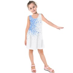 Blue Paint Splats Kids  Sleeveless Dress