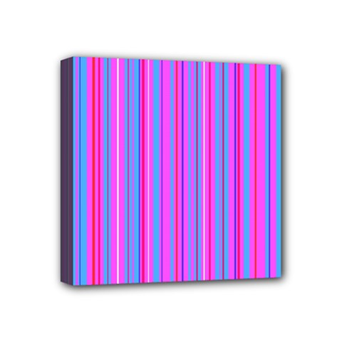 Blue And Pink Stripes Mini Canvas 4  x 4