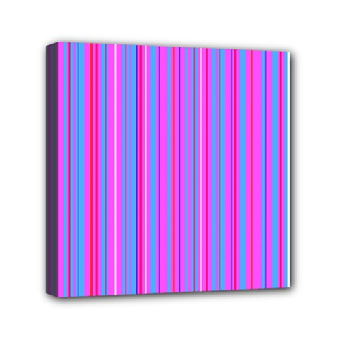 Blue And Pink Stripes Mini Canvas 6  x 6