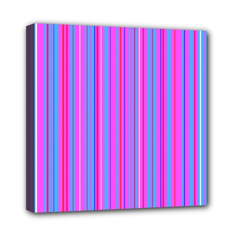 Blue And Pink Stripes Mini Canvas 8  x 8