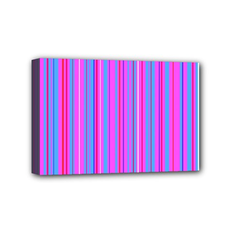 Blue And Pink Stripes Mini Canvas 6  x 4
