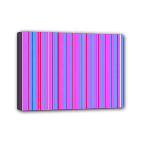 Blue And Pink Stripes Mini Canvas 7  x 5