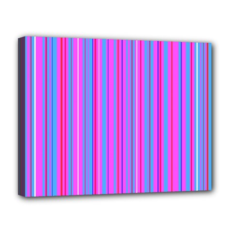 Blue And Pink Stripes Canvas 14  x 11