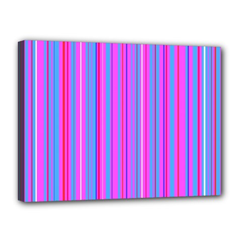 Blue And Pink Stripes Canvas 16  x 12