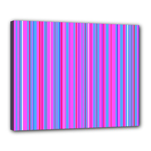 Blue And Pink Stripes Canvas 20  x 16