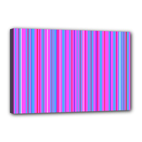 Blue And Pink Stripes Canvas 18  X 12