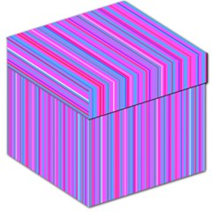 Blue And Pink Stripes Storage Stool 12