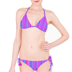 Blue And Pink Stripes Bikini Set