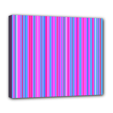 Blue And Pink Stripes Deluxe Canvas 24  x 20