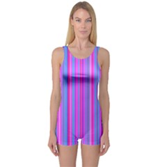 Blue And Pink Stripes One Piece Boyleg Swimsuit
