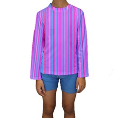 Blue And Pink Stripes Kids  Long Sleeve Swimwear