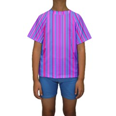 Blue And Pink Stripes Kids  Short Sleeve Swimwear