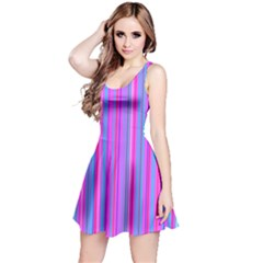 Blue And Pink Stripes Reversible Sleeveless Dress