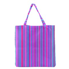 Blue And Pink Stripes Grocery Tote Bag