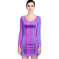 Blue And Pink Stripes Long Sleeve Bodycon Dress