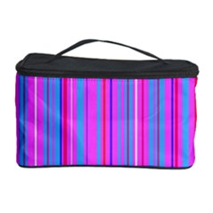 Blue And Pink Stripes Cosmetic Storage Case