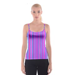 Blue And Pink Stripes Spaghetti Strap Top