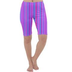 Blue And Pink Stripes Cropped Leggings