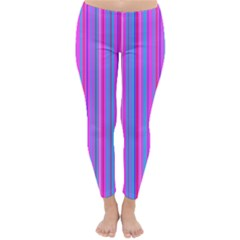 Blue And Pink Stripes Classic Winter Leggings