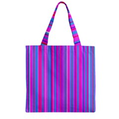 Blue And Pink Stripes Zipper Grocery Tote Bag