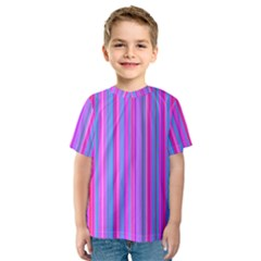 Blue And Pink Stripes Kids  Sport Mesh Tee