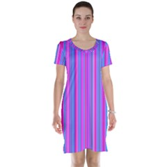 Blue And Pink Stripes Short Sleeve Nightdress