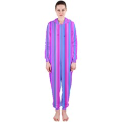 Blue And Pink Stripes Hooded Jumpsuit (Ladies)