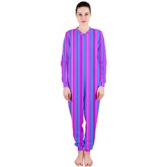 Blue And Pink Stripes Onepiece Jumpsuit (ladies)