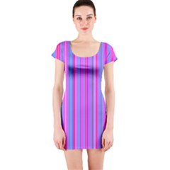Blue And Pink Stripes Short Sleeve Bodycon Dress