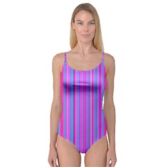 Blue And Pink Stripes Camisole Leotard