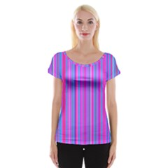 Blue And Pink Stripes Women s Cap Sleeve Top