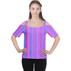 Blue And Pink Stripes Women s Cutout Shoulder Tee