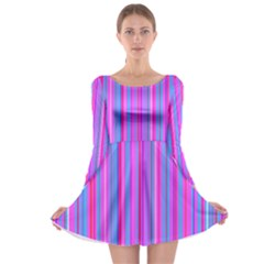 Blue And Pink Stripes Long Sleeve Skater Dress