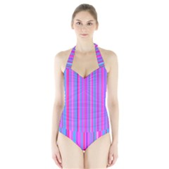 Blue And Pink Stripes Halter Swimsuit